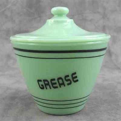 JADEITE GREEN GLASS GREASE DRIPPINGS JAR CONTAINER w/ LID ~BLACK BAND & LETTERS~