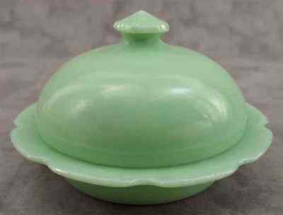 JADEITE GREEN GLASS ROUND DOMED SCALLOPED BUTTER DISH ~ Cherry Blossom Design ~