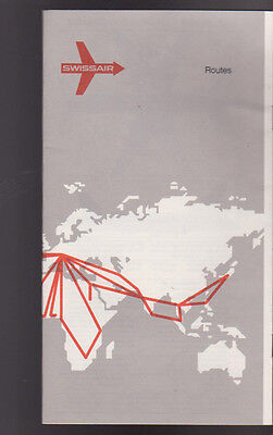 Swissair Route Map 1971 Great Reference