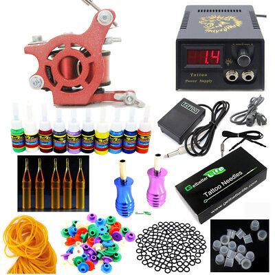 Pro Complete Beginner Tattoo Kit 1 Tattoo Machine Guns 10 inks Power Supply Set
