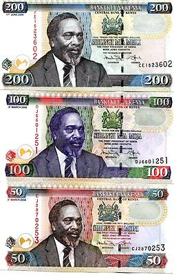 KENYA 50 100 200 SHILLINGS 2010 P-47e,48e,49e UNC SET OF 3