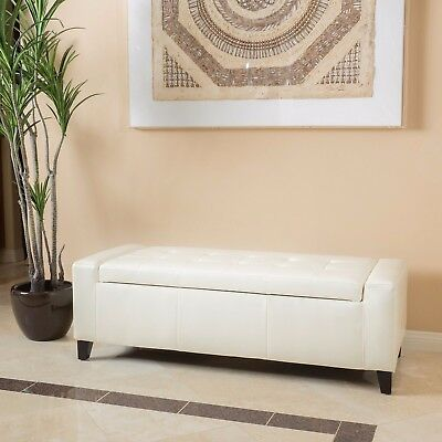 Contemporary Off White Leather Storage