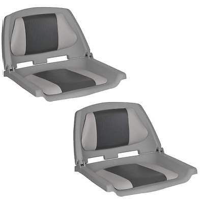 Folding Moulded Padded Boat Seat Grey/Char x 2 OceanSth