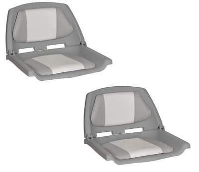 Folding Moulded Padded Boat Seat Grey/Whit x 2 OceanSth