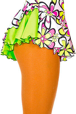 New Figure Skating Dress Skirt Jerry's Double Back LIme Daisy Print 10-12 CL