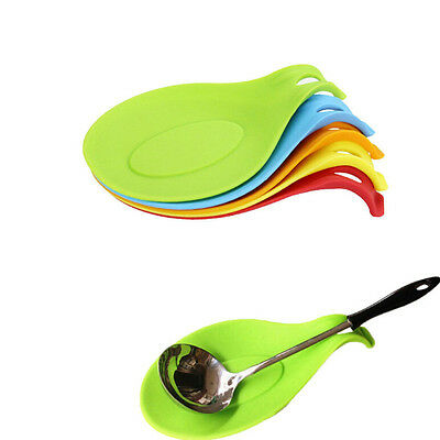 Silicone Spoon Rest Heat Resistant Kitchen Utensil Spatula Holder Cooking ToolHF