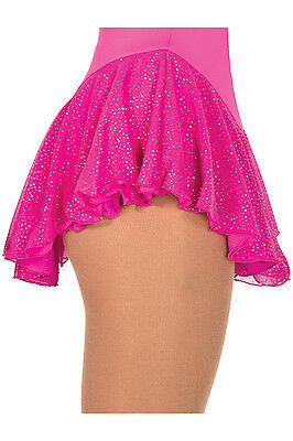 New Figure Skating Dress Skirt Jerry's Pink Sparkle Mesh AS Adult Small