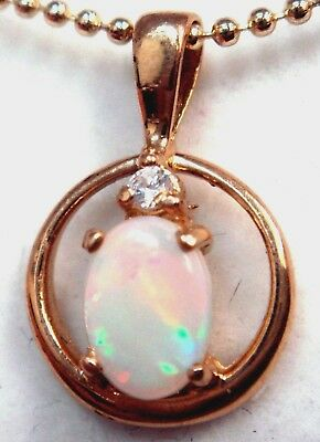Special Christmas Gift!!! Solid 18ct Gold Natural Crystal Opal Pendant Diamond
