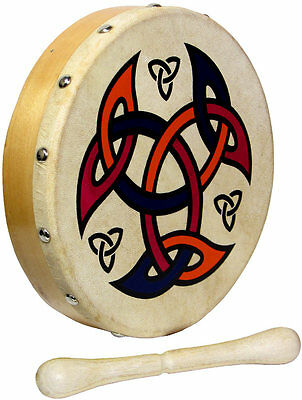 "MINI 8"" CELTIC SHIELD BODHRAN! Ornamental traditional Irish Drum! With beater"