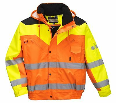 Portwest Contrast Plus Bomber Jacket Safety Fur Lining D Ring Work S - 3XL S464