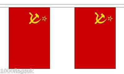 USSR Soviet Union Russia Polyester Flag Bunting 3m long with 10 Flags