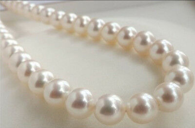 """9-10Mm Perfect White Round South Sea Pearl Loose Beads 15""""aaa"""