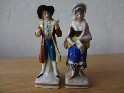 """Pair of 19thc Chelsea Derby Gold Anchor Miniature Porcelain Figurines 3.5"""""""