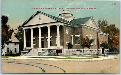 "Independence, Kansas Postcard ""FIRST CHRISTIAN CHURCH"" Street View 1916 Cancel"