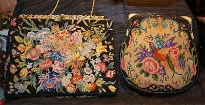 5 ANTIQUE VICTORIAN 1910's 30S:BIRDS    Multi-Color Embroidered Tapestry Purse