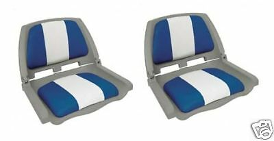 Foulding Moulded Padded Boat Seat Blue/White  x 2