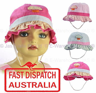 Girl Kids Toddler Baby Cotton Bell Sun Hat Chin Strap Size Adjustable MUSHROOM