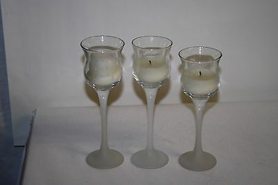 Partylite Ice Crystal Trio w/ frosted stem Votive Candle Holders
