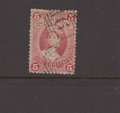 Queensland 1906 5/- Rose LARGE CHALON- Litho-W sideways SG156 cat £100 FU in NSW