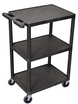 Luxor Multipurpose 3 Shelves Structural Foam Plastic Storage Utility Cart, Black