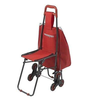 Drive Medical Deluxe Rolling Shopping Cart with Seat, Red- 607R NEW