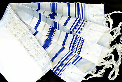 "Kosher Tallit Children Prayer Shawl acrylic 14X47""/35x120cm Age 7-10 blue&silver"