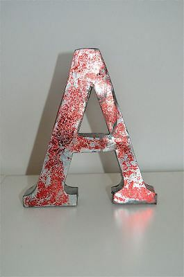MEDIUM VINTAGE STYLE 3D RED A SHOP SIGN LETTER TIN WALL ART LETTER FONT 8 inch