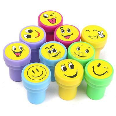 10x Emoji Smile Silly Face Stamps Set Stationery For Kids Gift Party Loot Bag
