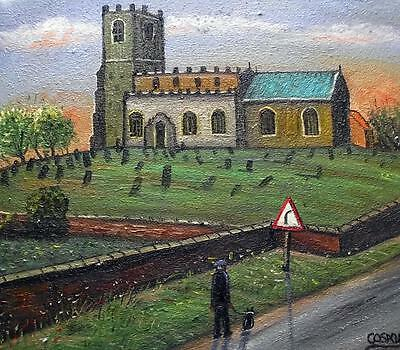 "A Country Parish :  Original 14"" X 12""  Northern Art Oil Painting by COSA"