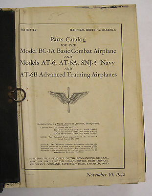1942 BC-1A Basic Combat Airplane/ AT-6, -A -B, SNJ-3 Advanced Training Parts