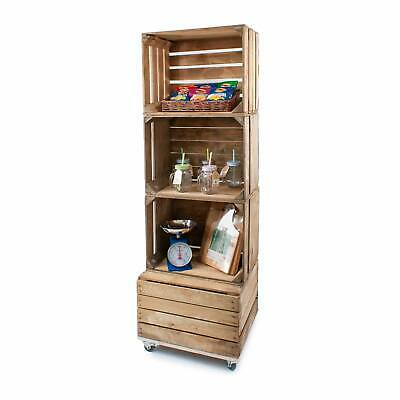 Rustic Finish Freestanding Crate Shelving Display on Castors (CR8S1)