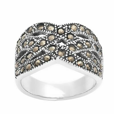 Silverly .925 Sterling Silver Marcasite Art Deco Style Entwined Braided Ring