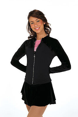 New Figure Skating Jacket Jerry's Black Micro Fleece Crystal Zippers Youth 10-12