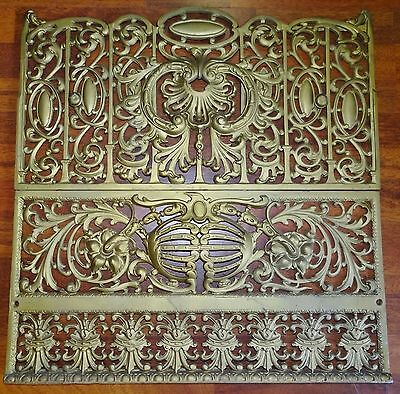 "Cast Iron Heating Wall Fireplace Grate Large 25.5"" x  25"" Ornate Vtg Antique"