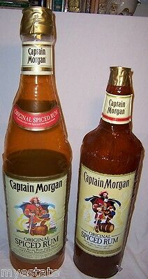 "Lot of 2 Captain Morgan Limited Edition  inflatable Blow up Bottles 33"" 26"""