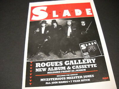 SLADE their new album is ROGUES GALLERY 1985 Promo Display Advert mint condition