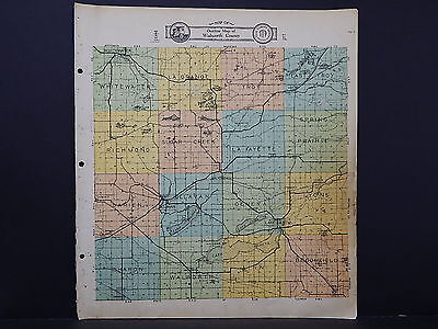 Wisconsin, Walworth County Map, 1930 Hand Color M4#02