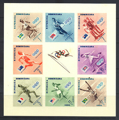 1957 Dominican Republic - Melbourne Olympics -  Imperf Sheet - Muh - J28