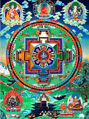 "32"" Blessed Tibetan Thangka Painting Poster: Eleven Faces Avalokitesva Mandala"
