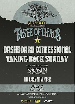 "Dashboard Confessional/saosin ""taste Of Chaos""2016 Salt Lake Concert Tour Poster"