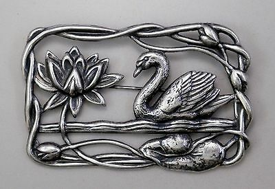 #3019 ANTIQUED SS/P RECTANGLE SHAPED SWAN SCENE BROOCH - 1 Pc Lot