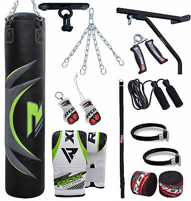 RDX Boxing Set Heavy Filled 4ft 5ft Punch Bag Gloves Bracket Chains Pad MMA