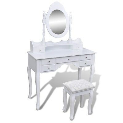 Dressing Mirror Table Stool Drawer Jewellery Cabinet Vintage Organiser White XXL