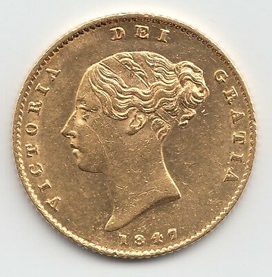 Rare 1847 Queen Victoria Gold Half Sovereign