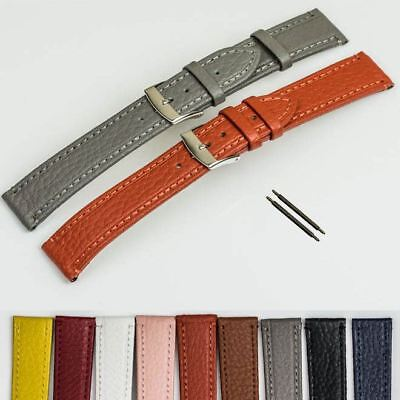 CLASSIC Ladies Genuine leather watch strap stitched multi colour band 12-20mm