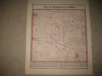 Antique 1873 Kickapoo Township Pottsville Peoria County Illinois Handcolored Map