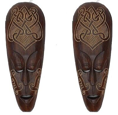 2 x WOODEN WALL MASKS CELTIC DESIGN / HAND CARVED WOOD TRIBAL MASK / AFRICAN