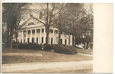 LEICESTER, MA - RPPC - Winslow Residence, Columns, lovely corner view