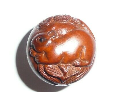 Cute Hand Carved Round Boxwood Mouse Shank Button - Adorable Mouse Button