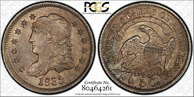1835 H10C Large Date Large 5C Capped Bust Half Dime PCGS SECURE MS62 POP Only 2